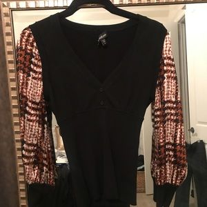Bebe Black k top with silk sleeves size m